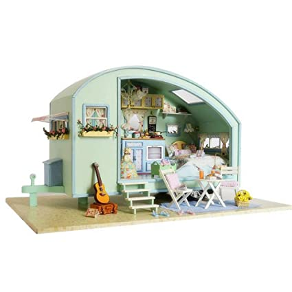 MiCute Wooden Doll House Miniature DIY House Kit Creative Room With  Furniture Birthdays, Valentine,