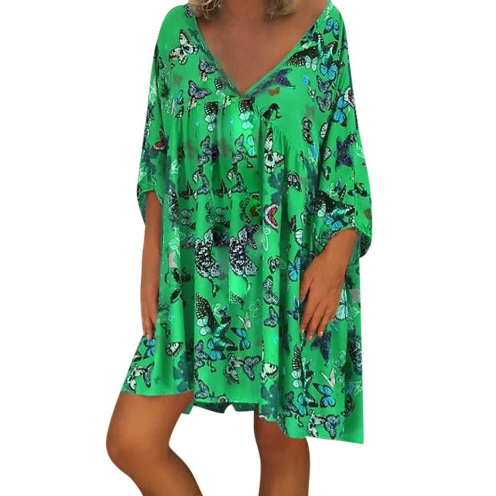 Sharemen Women'S Printed Long Sleeve V-Neck Maxi Dress Hem Baggy Kaftan Long Dress(Green,XL)