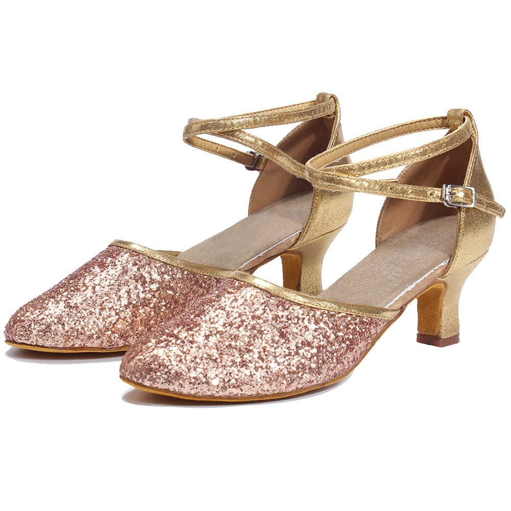 Womens Mid Low Heel Latin Dance Shoes//Standard Modern Sequins