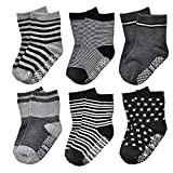 Cheap 6 Pairs Toddler Baby Boy Anti Slip Crew Walkers Ankle Grip Socks for 12-36 Months