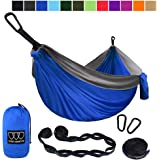 Gold Armour Camping Hammock - Extra Large Double Parachute Hammock (2 Tree Straps 16 Loops,10 ft Included) USA Brand…