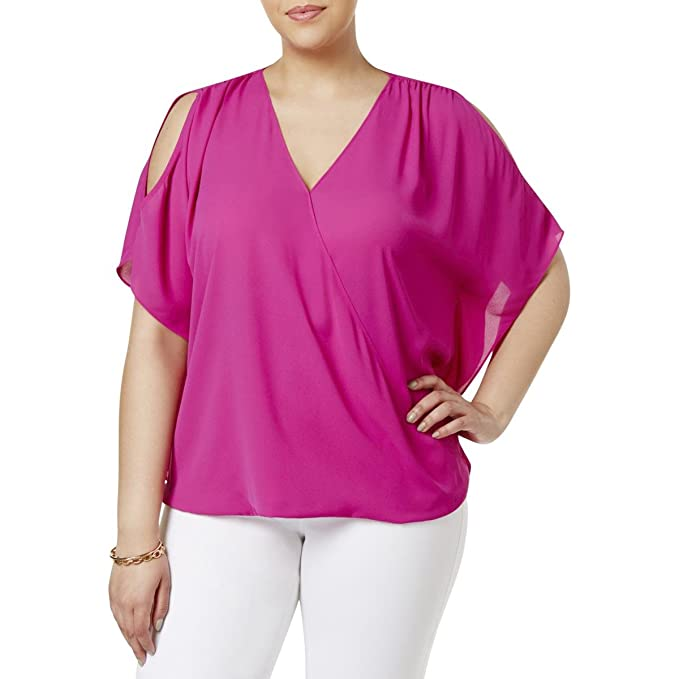 839f1dca1fa504 INC International Concepts Plus Size Cold-Shoulder Blouse In Magenta Flame ( 0X)