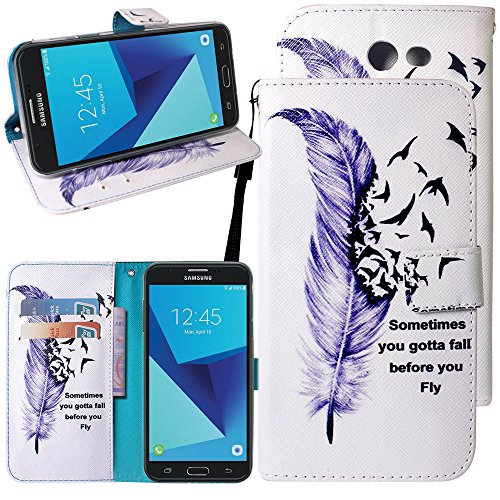 Eclipse Wallet (For Samsung Galaxy J3 Emerge / J3 Prime / J3 Mission / J3 Eclipse / J3 Luna Pro / Sol 2 / Amp Prime 2 / Express Prime 2 Case,Harryshell Kickstand Flip PU Wallet Leather Case w Card Slot Wrist Strap)