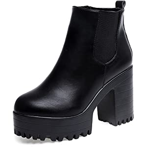 2018 Invierno Mujer Botines Tacon Alto Plataforma Zapatos Botas Martin de Cabeza Redonda