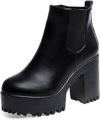 2019 Invierno Mujer Botines Tacon Alto Plataforma Zapatos Botas ...