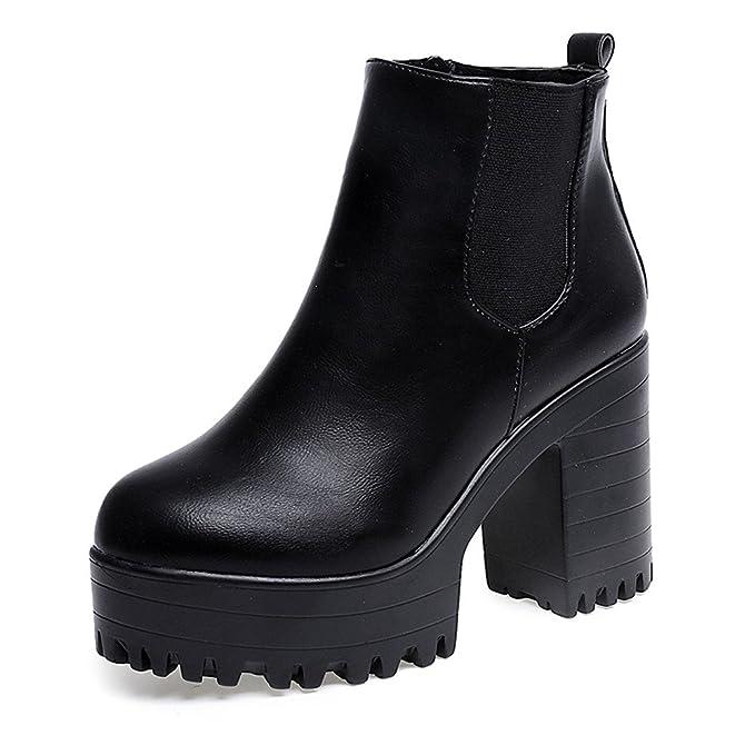 ❤ Botas Mujer Invierno Impermeable,Botas de Mujer Plataformas de tacón Cuadrado Botas Altas de Muslo de Cuero Zapatos de Botas Botas de Cabeza Redonda ...