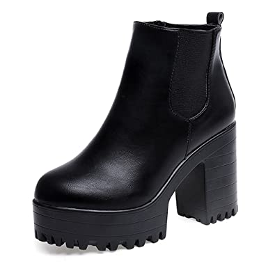 5cda39acae09a HARRYSTORE Ladies Chunky Cleated Sole Platform Boots Womens Block Heel  Biker Chelsea Ankle Boots High Heel Leather Shoes  Amazon.co.uk  Shoes    Bags