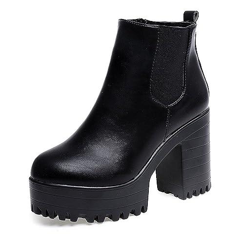2018 Invierno Mujer Botines Tacon Alto Plataforma Zapatos Botas Martin de Cabeza Redonda: Amazon.es: Zapatos y complementos