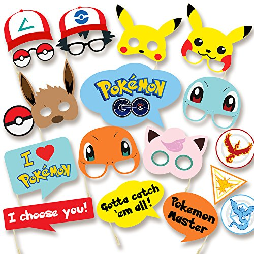 Pokemon Party Supplies - Photo Booth Props Suitable for Birthday Theme Party Great Party Ideas - Must Have for Pokemon Go Fans