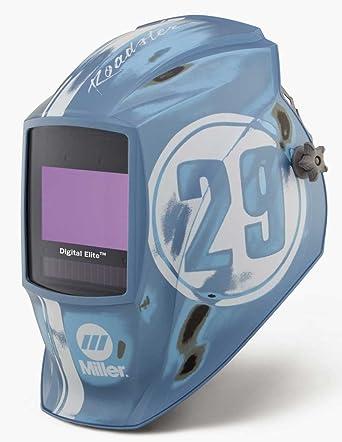 Miller 259485 Digital Elite azul/blanco casco de soldadura con lente de tonos, Auto
