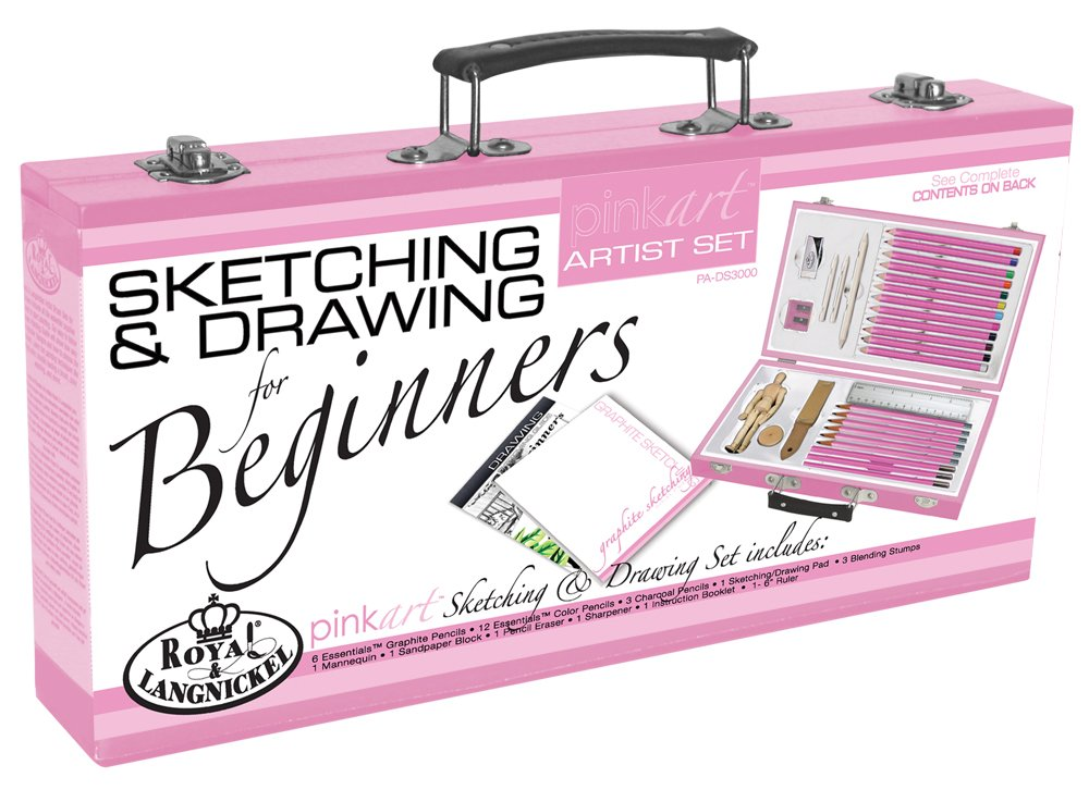 ROYAL BRUSH PA-ACR3000 Royal and Langnickel Pink Art Acrylic Painting Artist Set for Beginners, Pink reikos_0019522742AM_0014754