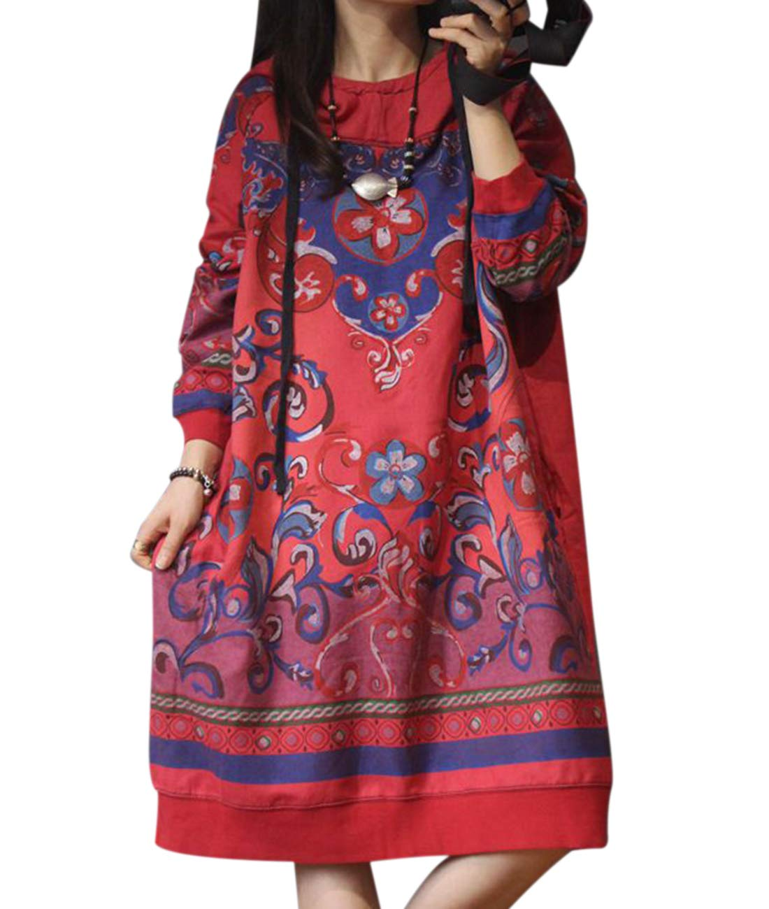 YESNO YM7 Women Casual Loose Hooded Sweatshirt Dress Plus Size Ethnic Floral Outwear Long Sleeve/Pockets