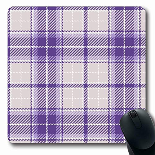Ahawoso Mousepad Oblong 7.9x9.8 Inches Checker Check Violet Plaid Breakfast Buffalo Celtic Checkered Grey Office Computer Laptop Notebook Mouse Pad,Non-Slip Rubber