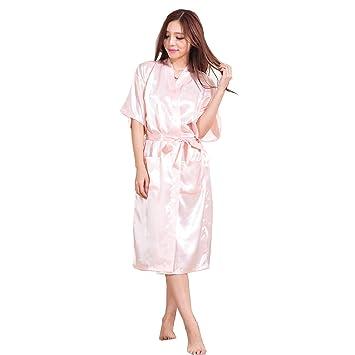 H.L Mujer Kimono - Albornoz Vestido Color sólido Pijama Camisón De Seda Hielo Sexy Nightclothes y de Satén Bata Baño para La Novia Vestido De Novia,6,XXXL: ...