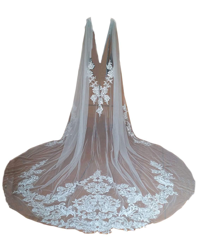 Cibelle Women's Long Wedding Cape Tulle Lace Applique Wedding Veil Cloak For Bride Ivory 3M by Cibelle
