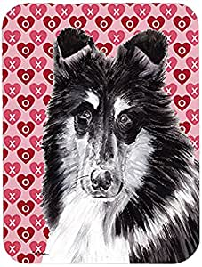 Caroline's Treasures SC9702LCB Black and White Collie Hearts and Love Glass Cutting Board, Large, Multicolor