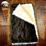 Premium Quality Faux Fur Buffalo / Thick Mongolian Sheepskin Throw Blanket / Reversible /Mountain Bear Skin / Shaggy Sheepskin Plush Faux Fur (4'x5')