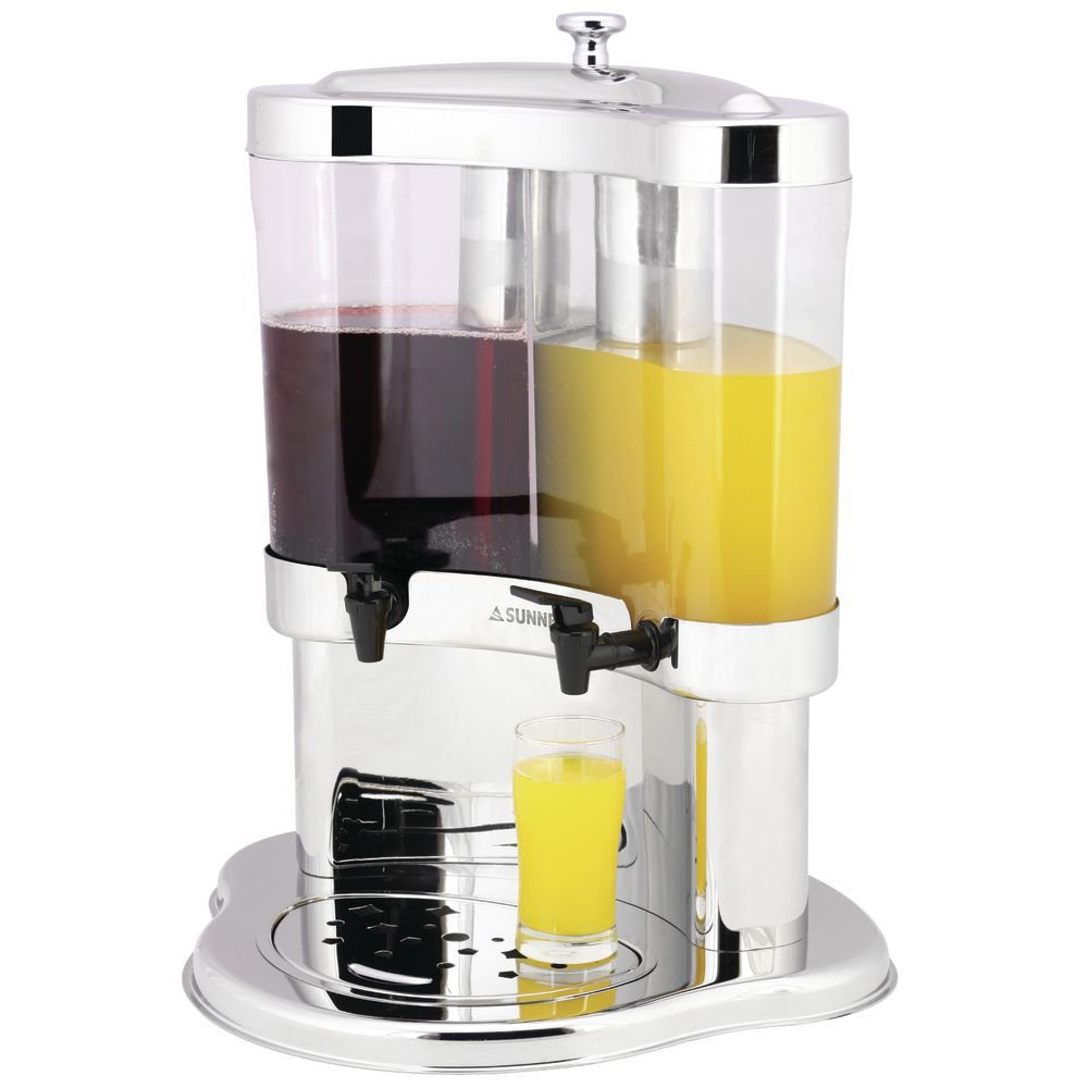 Beverage Dispenser With Ice Chamber Two 10L Containers Polycarbonate and Stainless Ice Chamber
