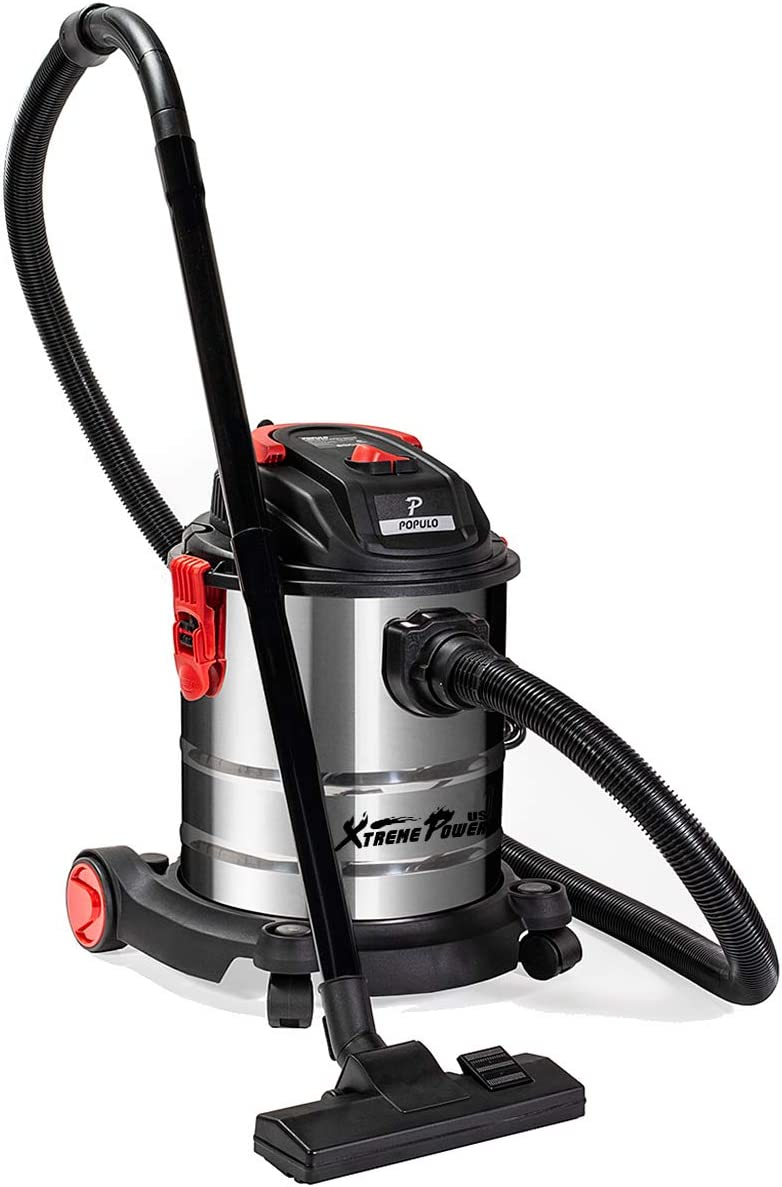 XtremepowerUS 5.5 Peak HP 5 Gallon Wet and Dry Vacuum Stainless Steel Bucket 3-Functions Vacuum Dry Wet Blow with Wheel