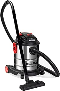 XtremepowerUS 5.5 Peak HP 5 Gallon Wet and Dry Vacuum Stainless Steel Bucket 3-Functions Vacuum Dry/Wet/Blow with Wheel