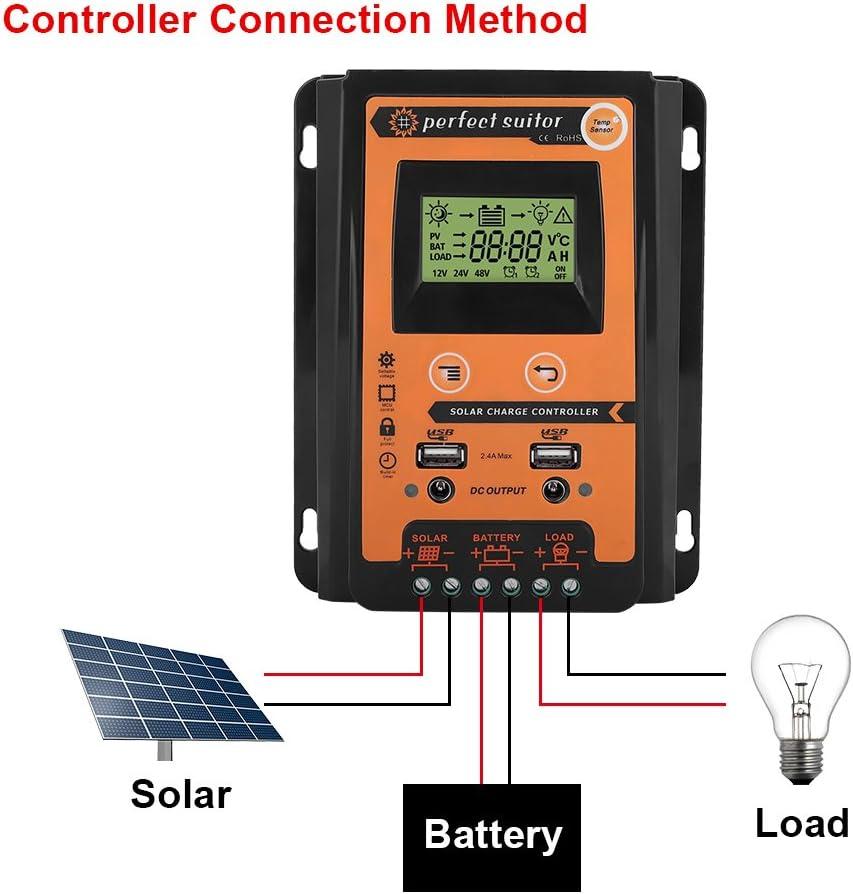 MPPT Solarpanel Controller Batterie Laderegler DC 12V//24V USB Regler Solarregler