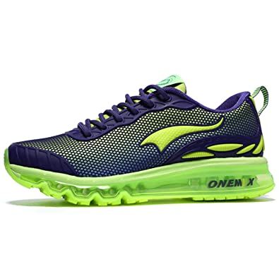 the best attitude 4070e fccc6 Onemix Men s Breathable Trainers Air Cushion Sport Running Shoes Green 5.5  UK