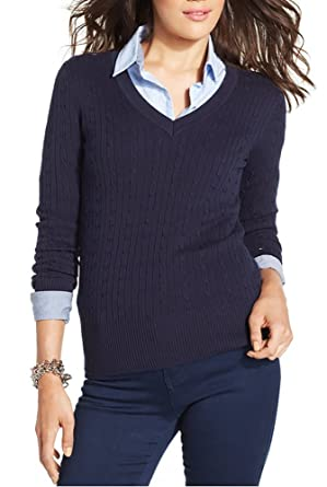 Tommy Hilfiger Women\u0027s V,Neck Knit Sweater (Navy, Small)