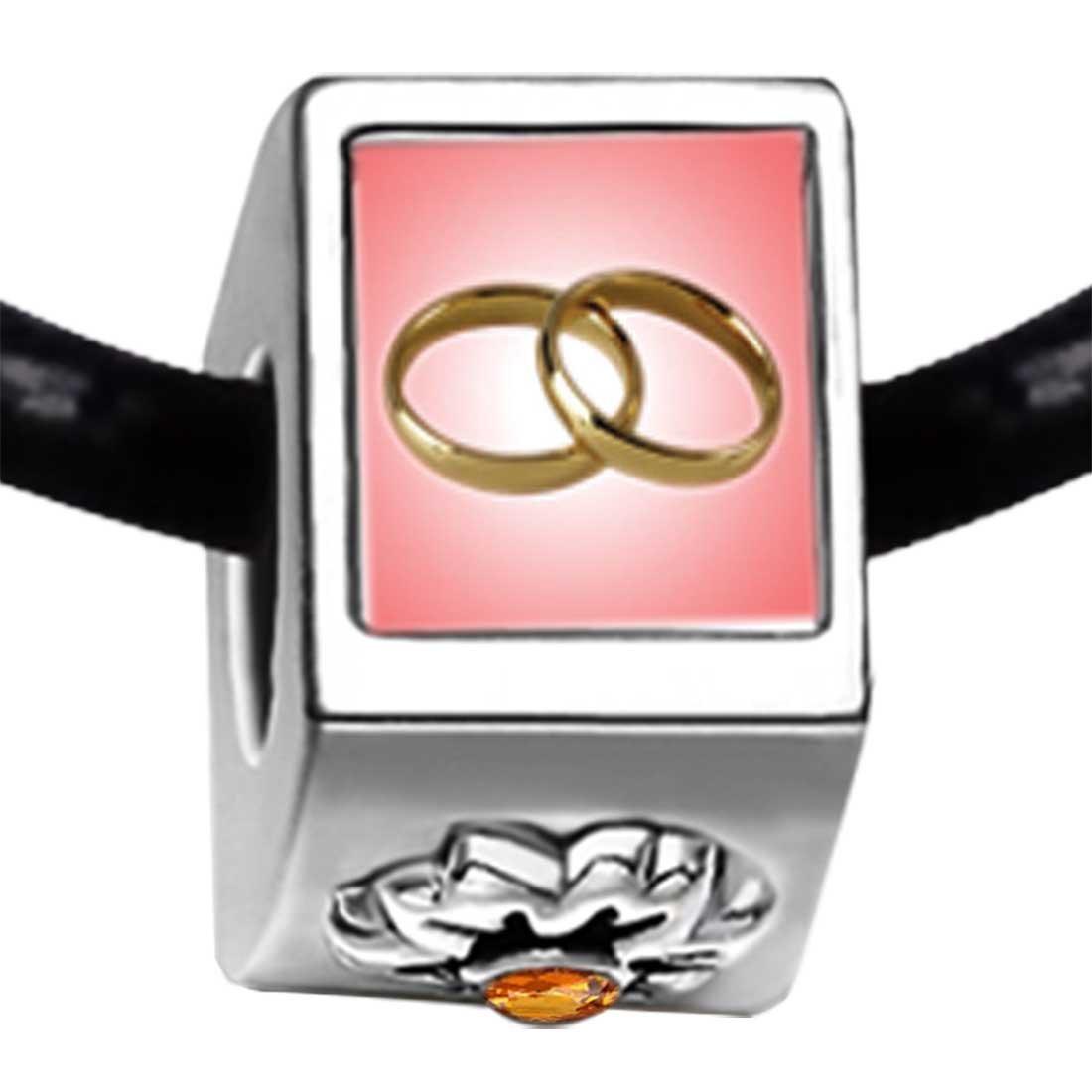 Amazon.com: GiftJewelryShop Wedding Rings Pink And Golden Photo ...