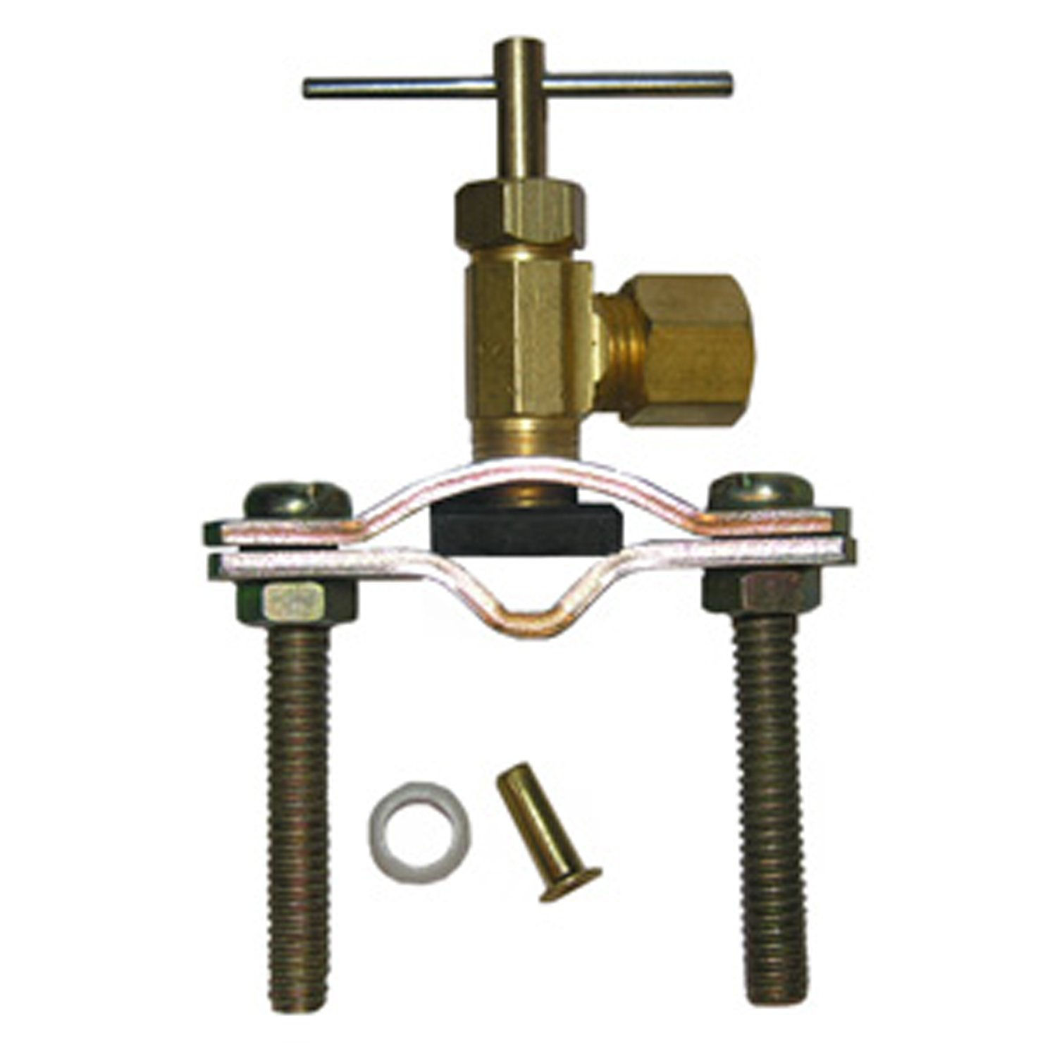 LASCO 17-0601 1/4-Inch Compression Outlet Self Tapping Brass Saddle Needle Valve