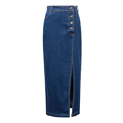 ALAPUSA Women's Side Split Workwear Single Breasted Long Fit Denim Skirt