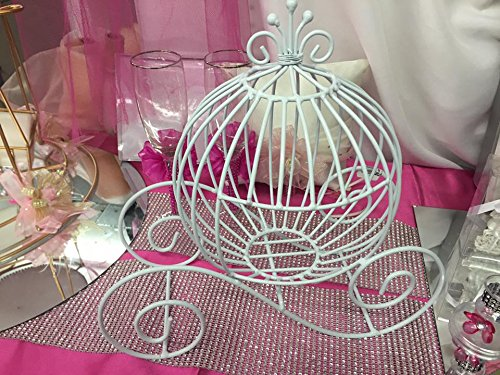 (White Wire Coach Carriage Table Centerpiece Cinderella Wedding Sweet 16 Party Supply Decoration)