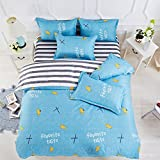 ManFan 4Pcs in 1 Fresh Aloe Cotton Bedding Sets Solid Color AB Bed Protector Home Quilt Cover Blanket School Dorm Cartoon Print - Full