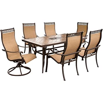 Hanover MONACO7PCSW Monaco 7 Piece High Back Sling Outdoor Dining Set