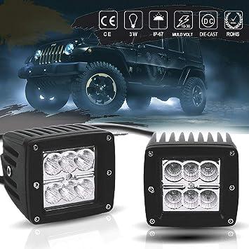 2x 36W Flood LED Work Light Bar Reverse Driving Offroad UTE Fog Lamp Polaris RZR
