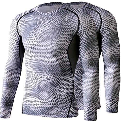 スピン組立踏みつけHONENNA 長袖 コンプレッションウェア 2セット インナー シャツ スポーツインナー メンズ 男性用機能性肌着 (L, グレー)