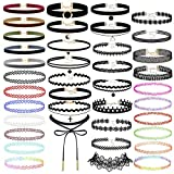 #7: Prohouse 40 PCS Womens Choker Necklaces Black Lace Velvet Charm Stretch Gothic Tattoo Chokers Necklace Set for Women Girls