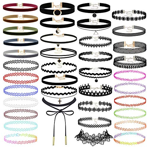 Prohouse 40 PCS Womens Choker Necklaces Black Lace Velvet Charm Stretch Gothic Tattoo Chokers Necklace Set for Women Girls