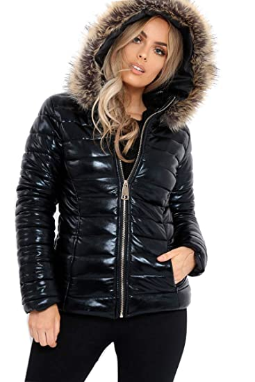 entire collection classic top fashion Fashion4u Ladies Black Wet Look Puffer Coat Womens Winter Shiny PU ...