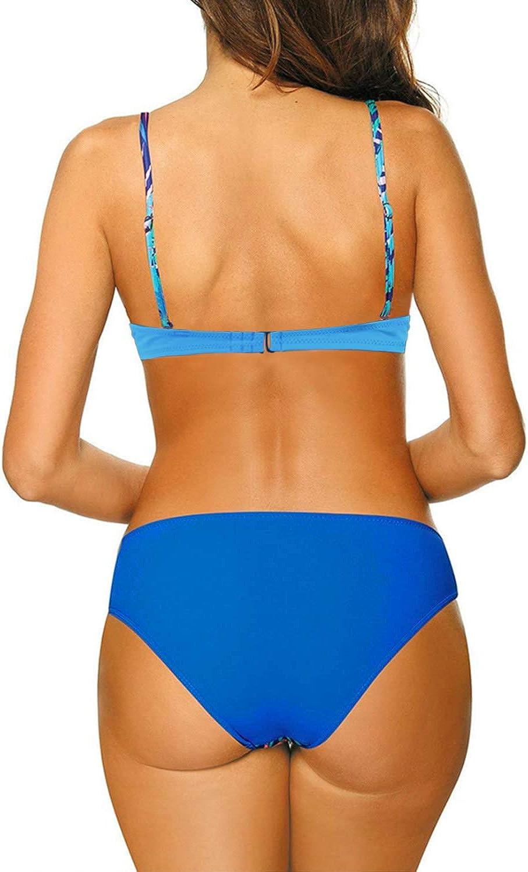 Aleumdr Damen Bikini Set Push up Badeanzug Zweiteilige Bandeau Bademode mit verstellbaren Tr/äger S-XXL