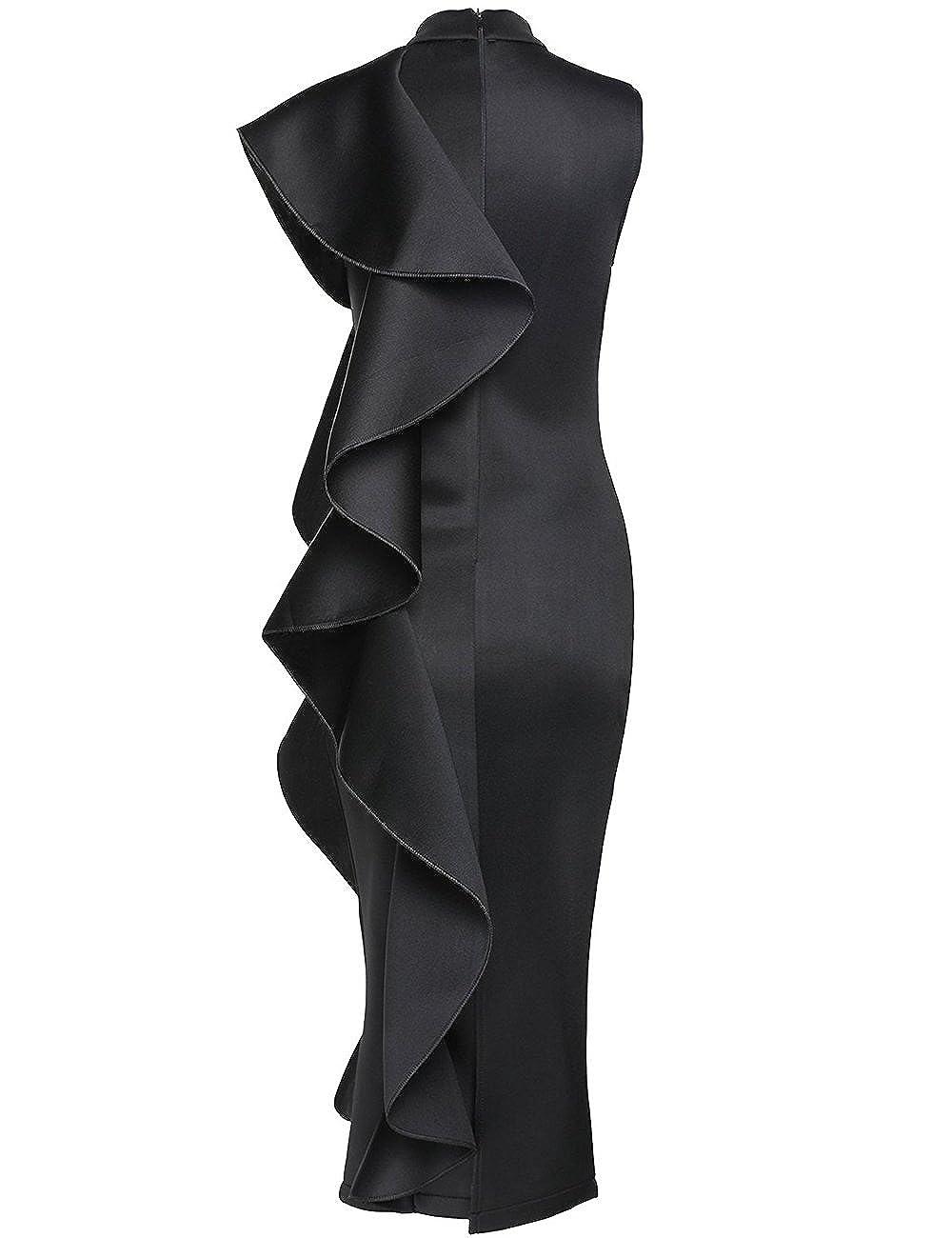 3b6e668da003 Maketina Womens Ruffle Patchwork Sleeveless High Neck Bodycon Elegant Midi  Party Dress at Amazon Women's Clothing store: