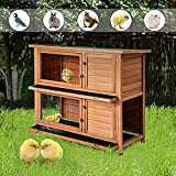 Merax Rabbit Hutch Wooden House Wooden Cage for