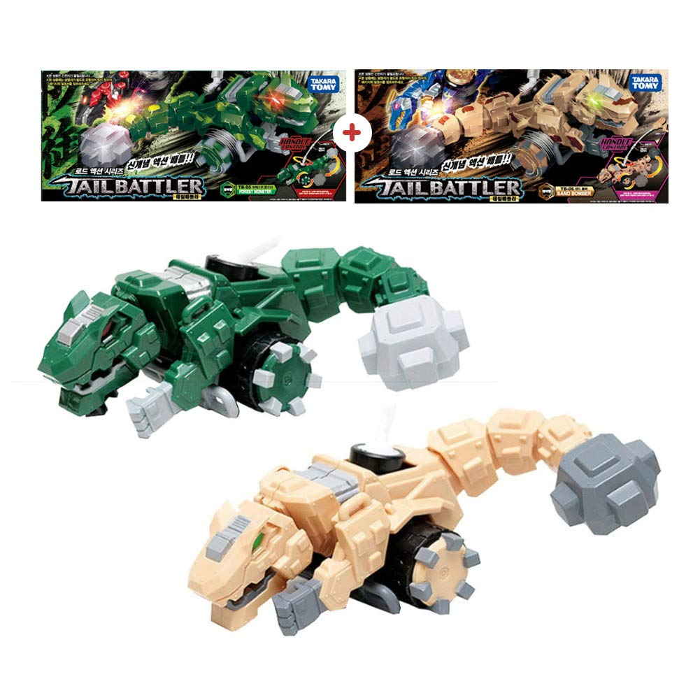 Tail Battler Dinosaurs Spinning Top Attack Spinning Head and Tail Forest Monster + Sand Bomber (Set of 2)