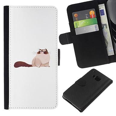 Blanco/TaiTech dHandy Wallet funda de protección - Big PUSSY Cat siamés FURRY - dibujo