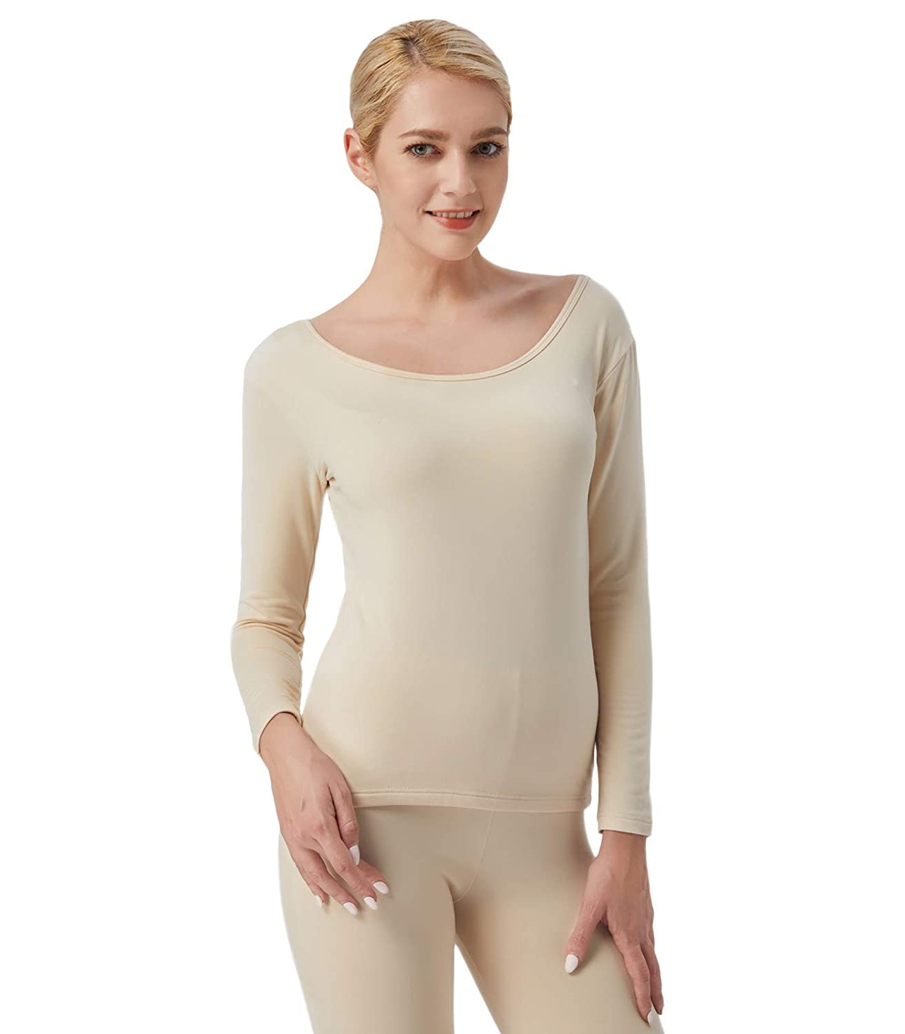 Liang Rou Womens Ultra Soft Fleece Lined Long Sleeve Thermal Top