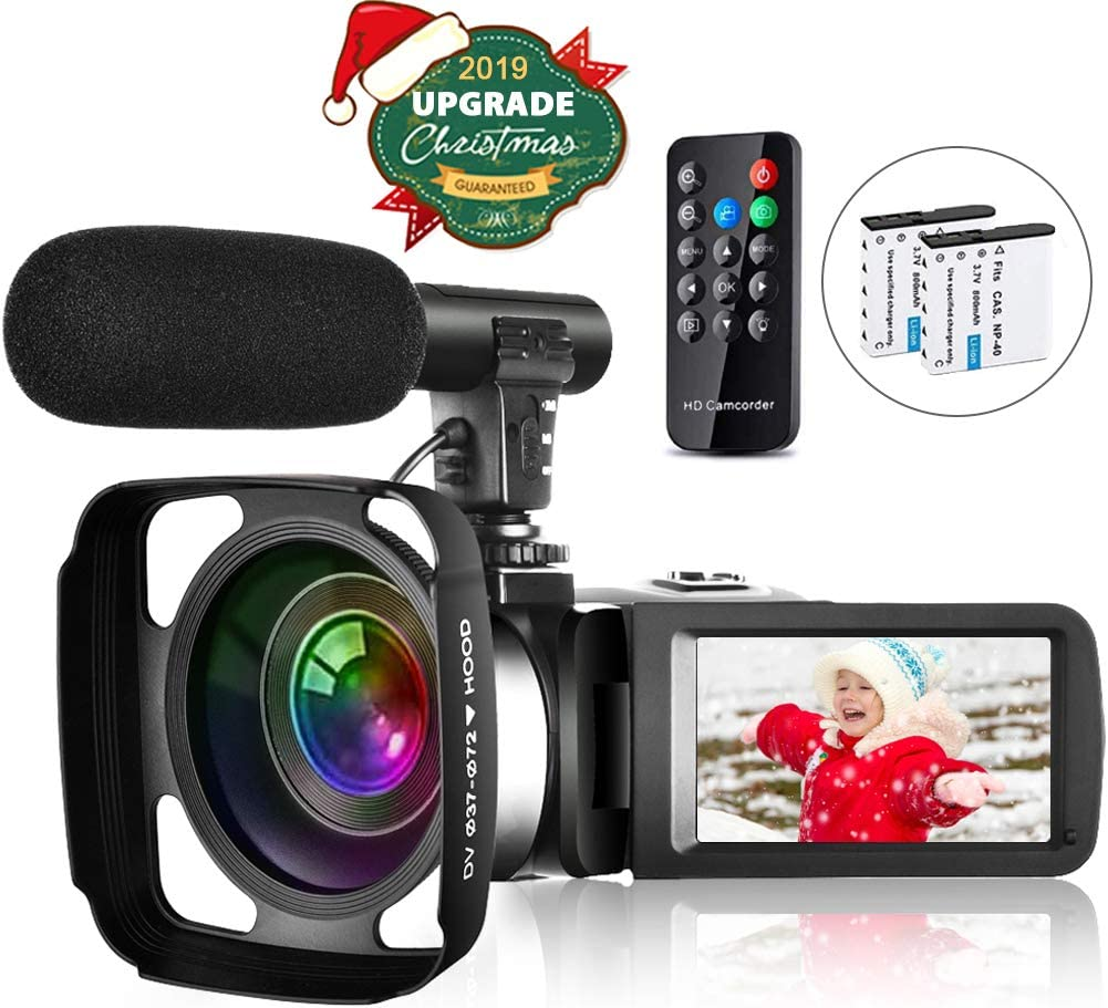 Amazon Com Video Camera Camcorder Vlogging Camera For Youtube Full Hd 2 7k 30fps 30 Mp Ir Night Vision 3 Inch Touch Screen Time Lapse Camcorder With Microphone Remote Control Lens Hood And 2