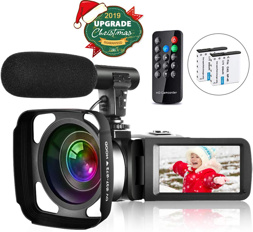 video-camera-camcorder-vlogging-camera-for-youtube-full-hd-27k-30fps-30-mp-ir-night-vision-3-inch-touch-screen-time-lapse-camcorder-with-microphone-remote-control-lens-hood-and-2-batteries