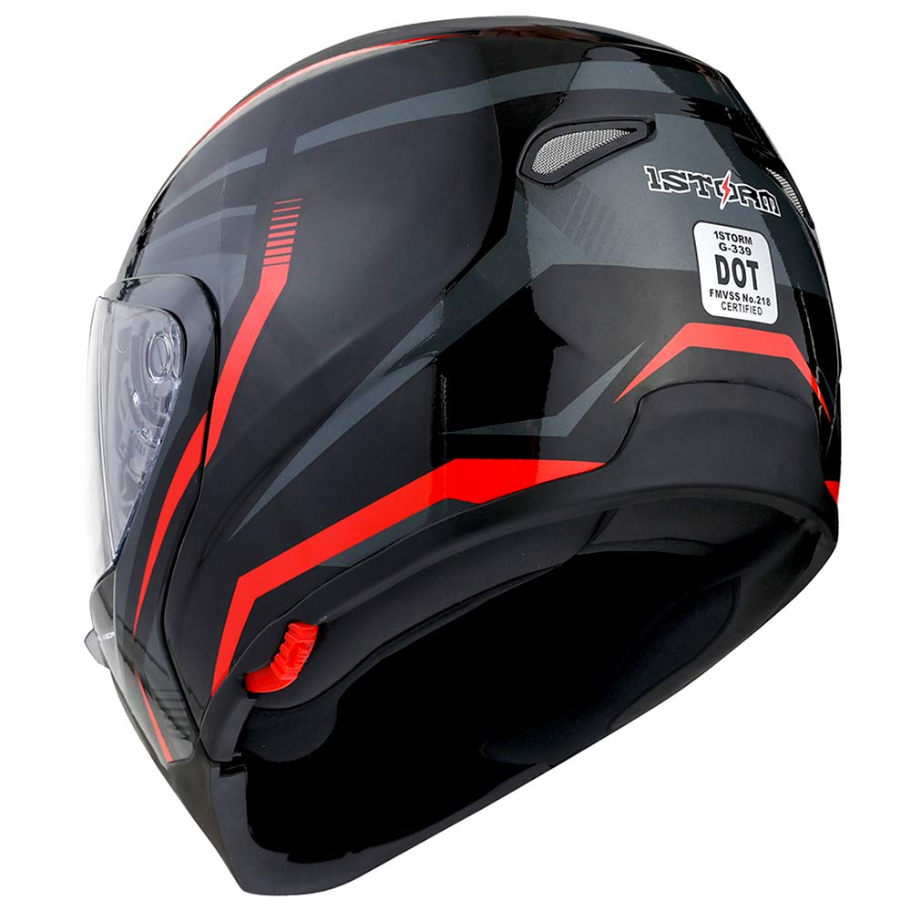 1Storm Motorcycle Street Bike Modular/Flip up Dual Visor/Sun Shield Full Face Helmet Storm Tron Red by 1Storm (Image #8)