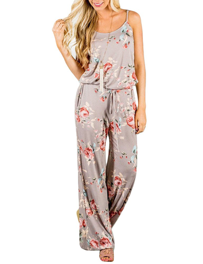 Adibosy Women Summer Floral Print Halter Sleeveless Jumpsuit Bohemian Wide Long Pants Rompers with Pockets Khika L