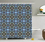 Moroccan Shower Curtain by Ambesonne, Bohemian Eastern Arabic Pattern with Interlacing Lines Historical Roman Influences, Fabric Bathroom Decor Set with Hooks, 70 Inches, Royal Blue