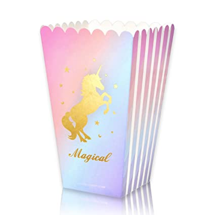 Magical Unicorn Party Favor Supplies Popcorn Treat Boxes For Birthday Decorations 12 Pack